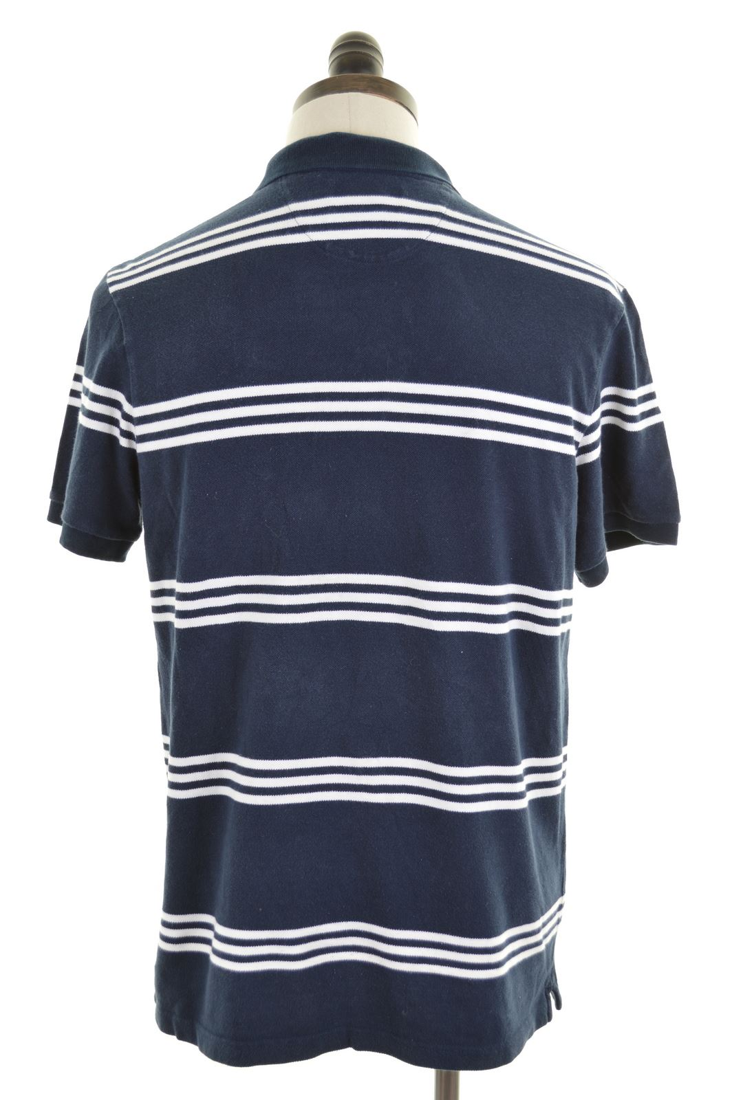 CHAPS Mens Polo Shirt Large Navy Blue Stripes Cotton Slim Fit  8f0bd9518