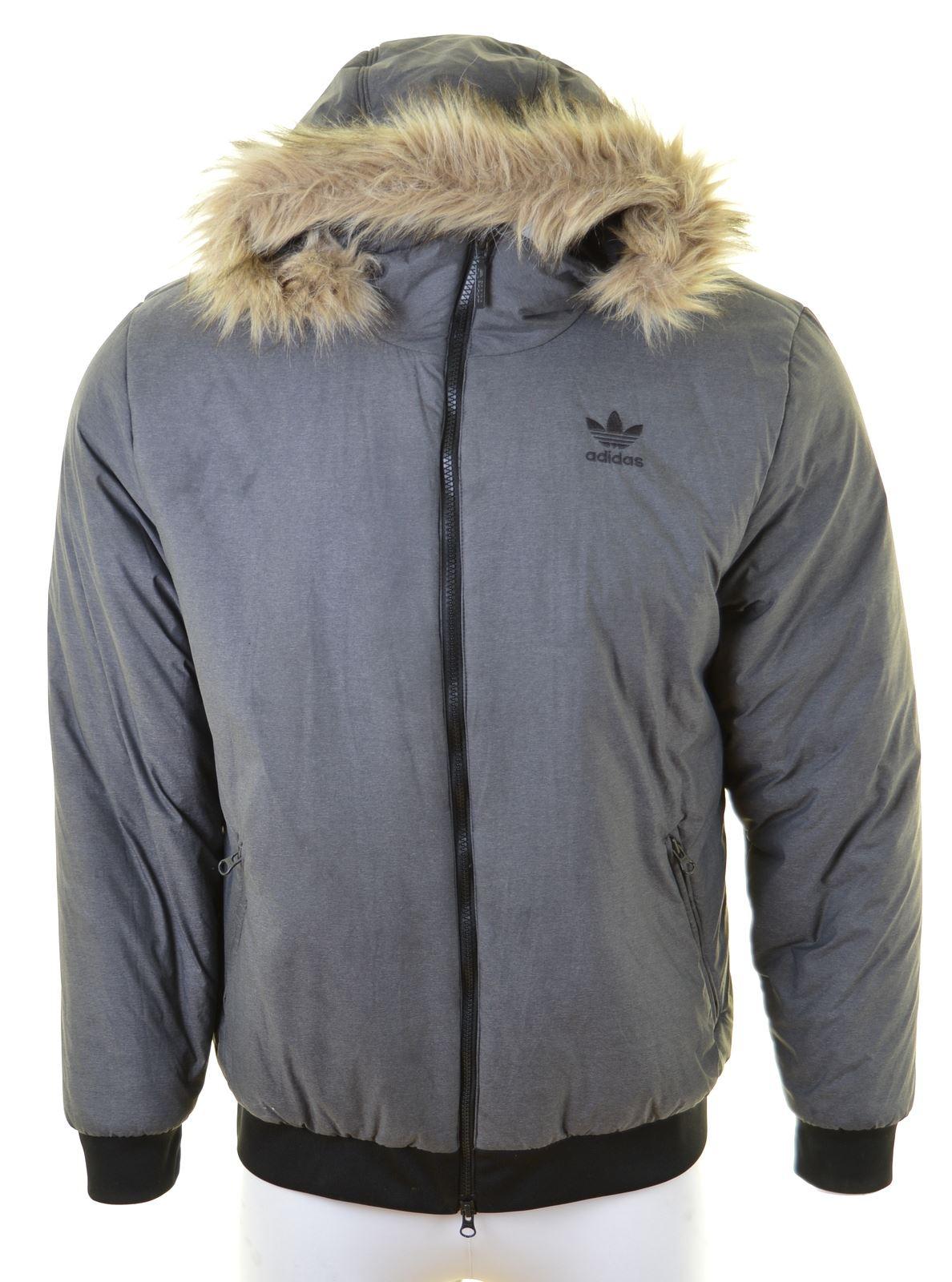 Details zu ADIDAS Mens Padded Jacket Size 40 Large Grey Nylon EF18
