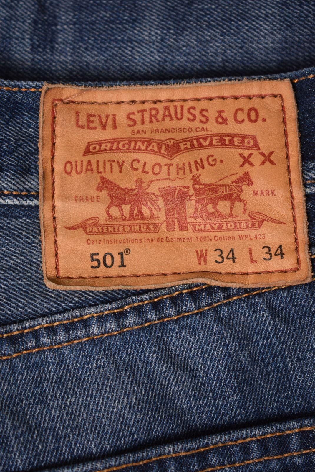 0ad670e6 LEVI'S Mens 501 Jeans W34 L30 Blue Cotton Straight KE09 | eBay