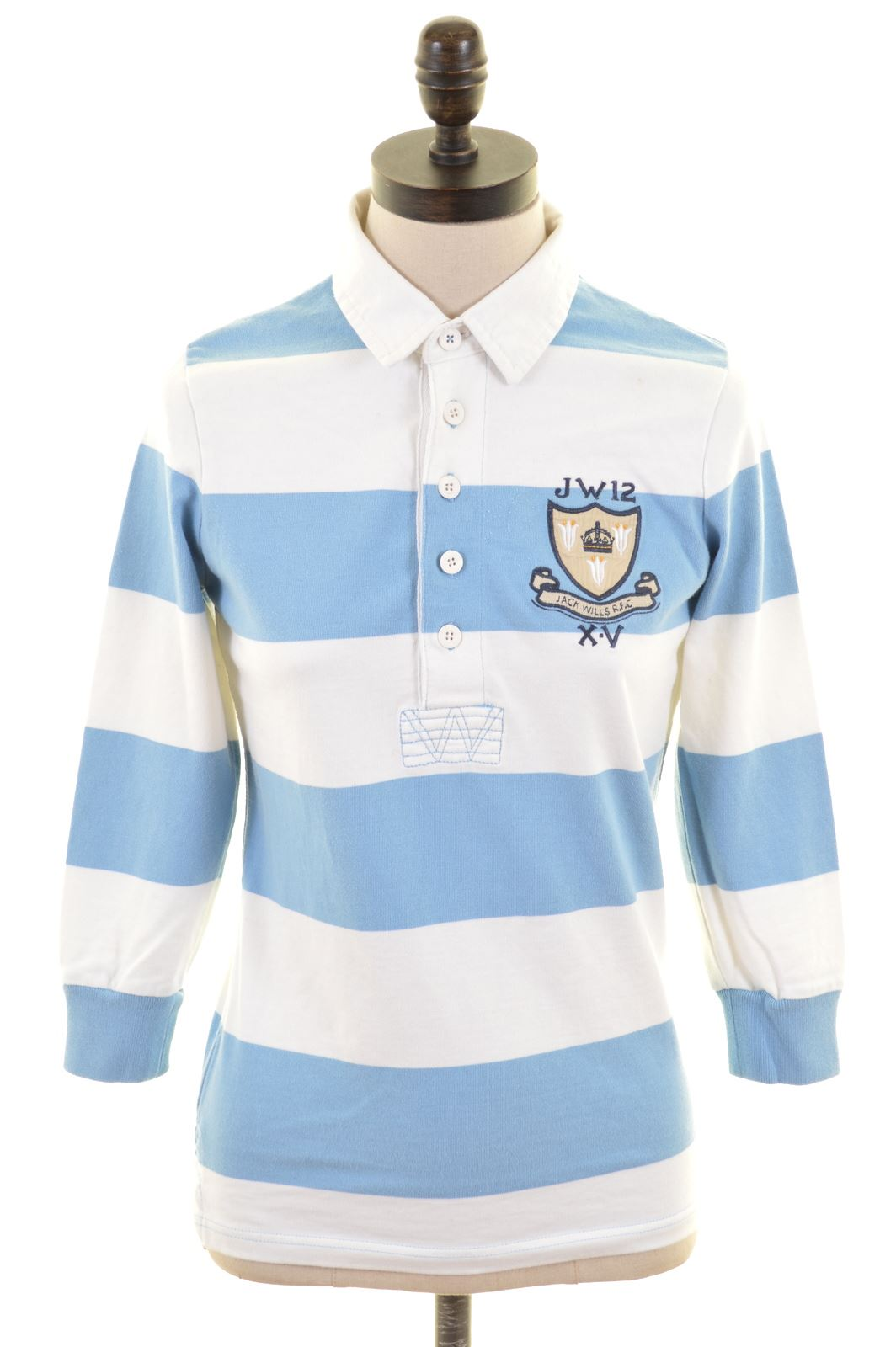 Details About Jack Wills Womens Polo Shirt Long Sleeve Uk 8 Small Blue Striped Cotton Ld22