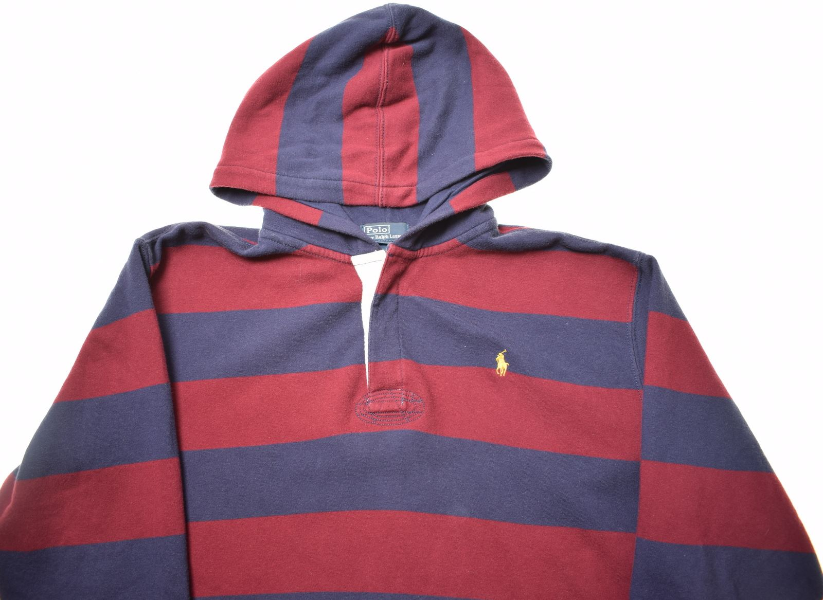 f3a3a8803f9e POLO RALPH LAUREN Boys Hoodie Jumper 15-16 Years XL Maroon Stripes Cotton