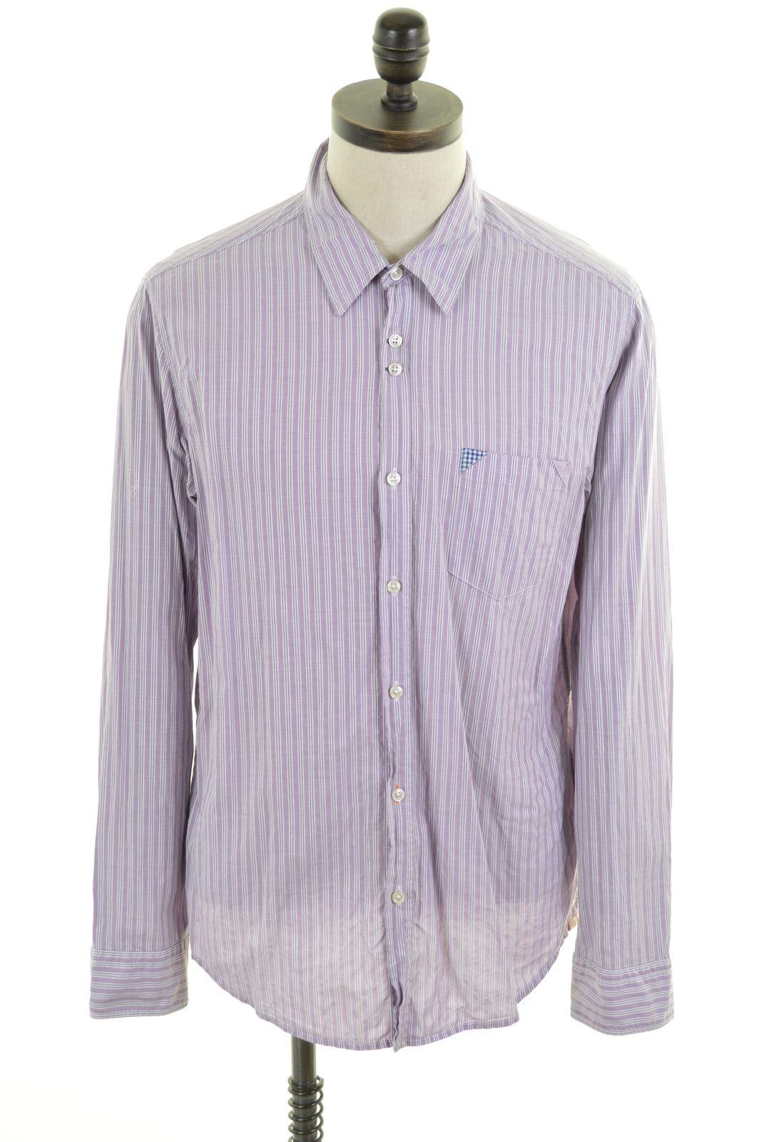 0f468cdc HUGO BOSS Mens Shirt XL Purple White Stripes Cotton Slim Fit | eBay