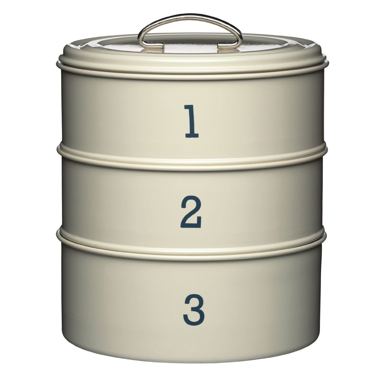 Kitchen Craft Living Nostalgia Painted Metal 3 Tier Cake Bin Tin Jar - Cream