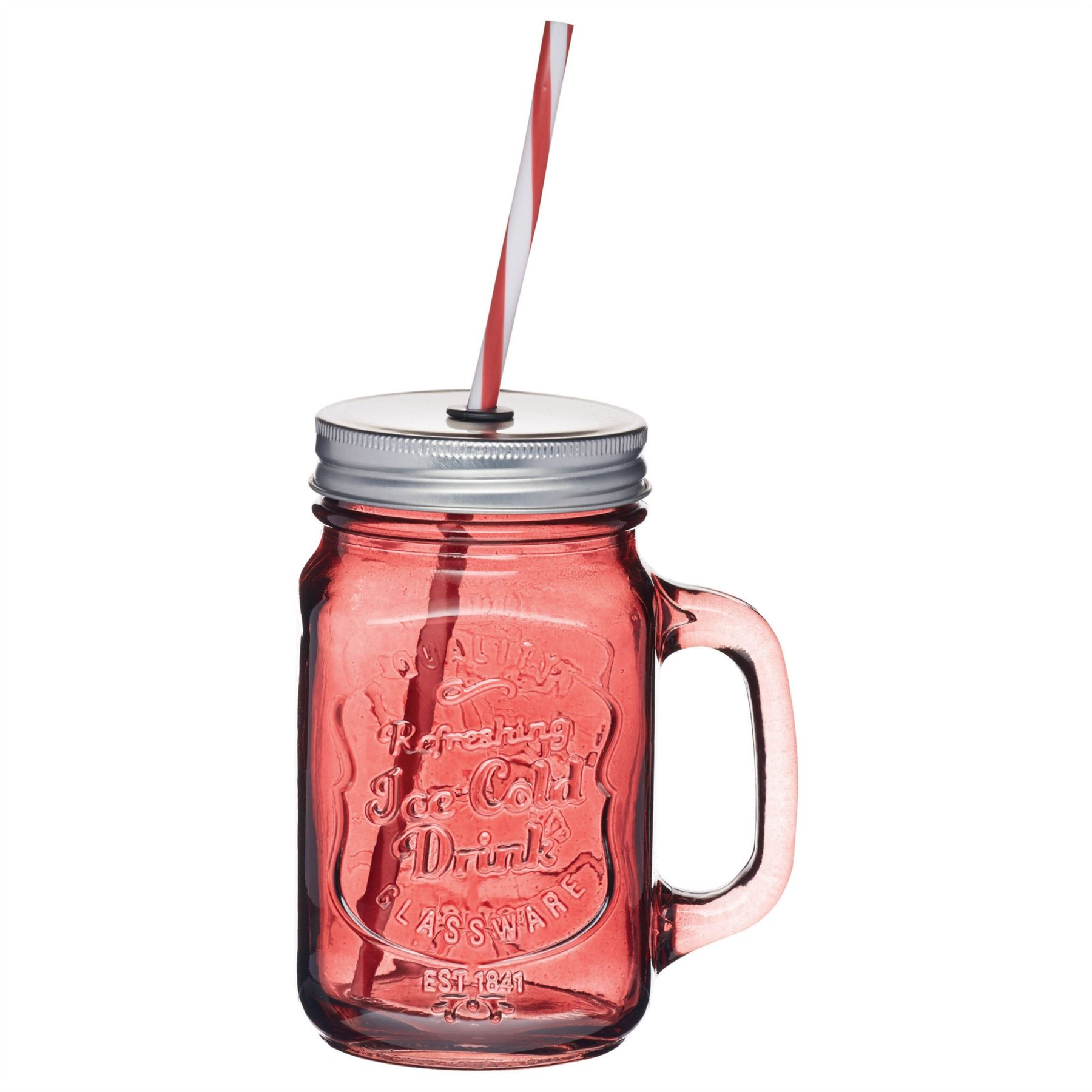 kitchen craft home made coloured cocktail glass drinks jar with