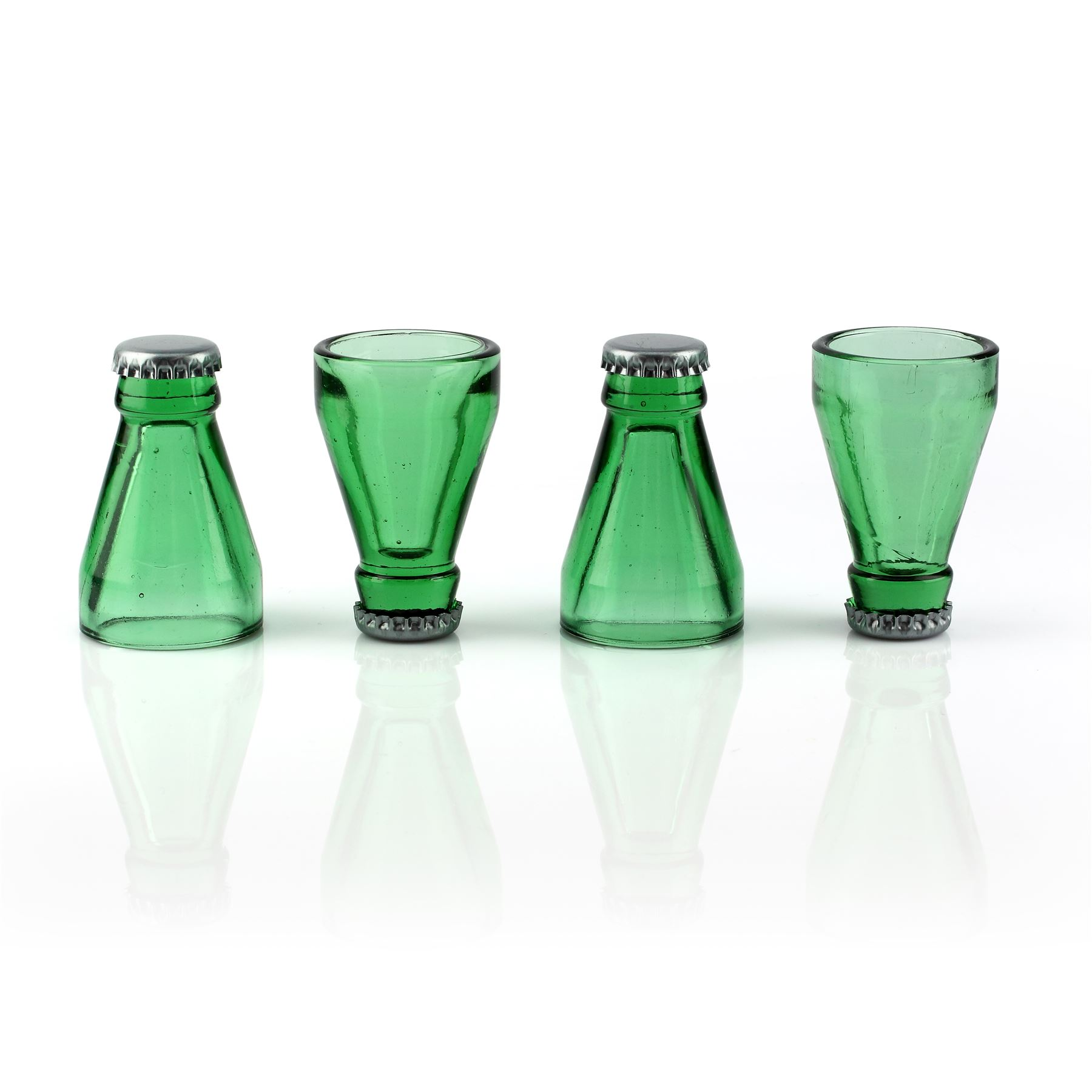 Thumbs Up Top Shots Bottle Top Recycled Glass Shot Glasses Set of 4