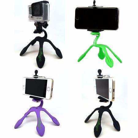 Negro GekkoPod Flexible Trípode Montar Poseedor para Cámaras GoPro