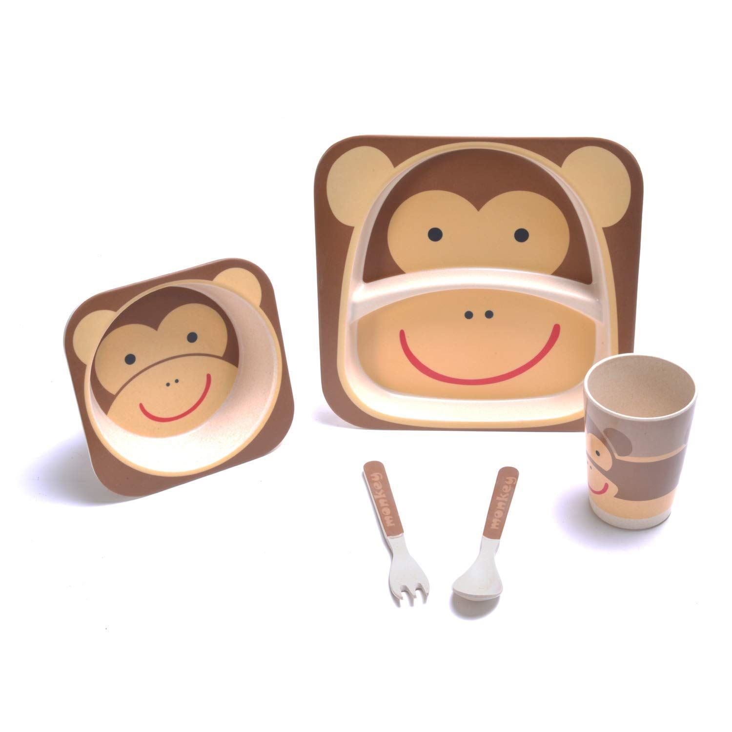 Bamboo-Kids-Meal-Set-Eco-Friendly-securite-alimentaire-alimentation-5pcs-Cuillere-Plate-Set-Toddler miniature 15