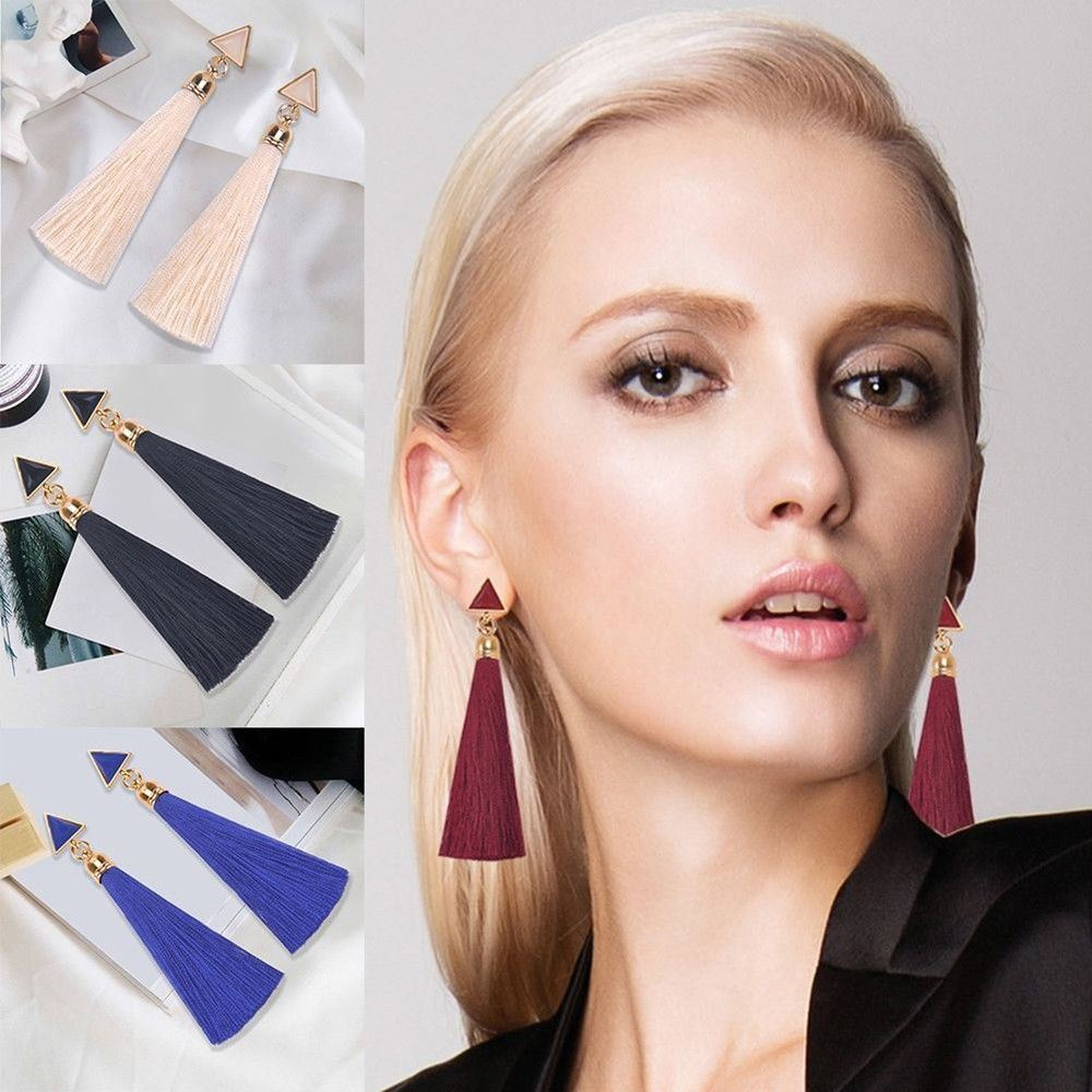 Women-Fashion-Rhinestone-Long-Tassel-Dangle-Earrings-Fringe-Drop-Jewelry-Gift-UK thumbnail 103