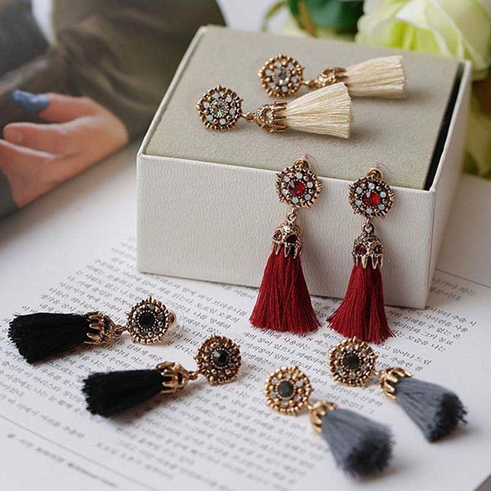 Women-Fashion-Rhinestone-Long-Tassel-Dangle-Earrings-Fringe-Drop-Jewelry-Gift-UK thumbnail 27