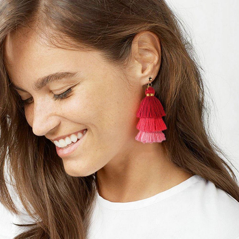 Women-Fashion-Rhinestone-Long-Tassel-Dangle-Earrings-Fringe-Drop-Jewelry-Gift-UK thumbnail 115