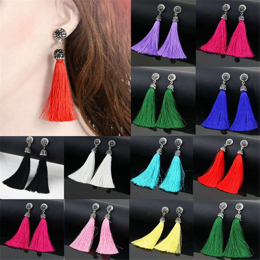 Women-Fashion-Rhinestone-Long-Tassel-Dangle-Earrings-Fringe-Drop-Jewelry-Gift-UK thumbnail 136