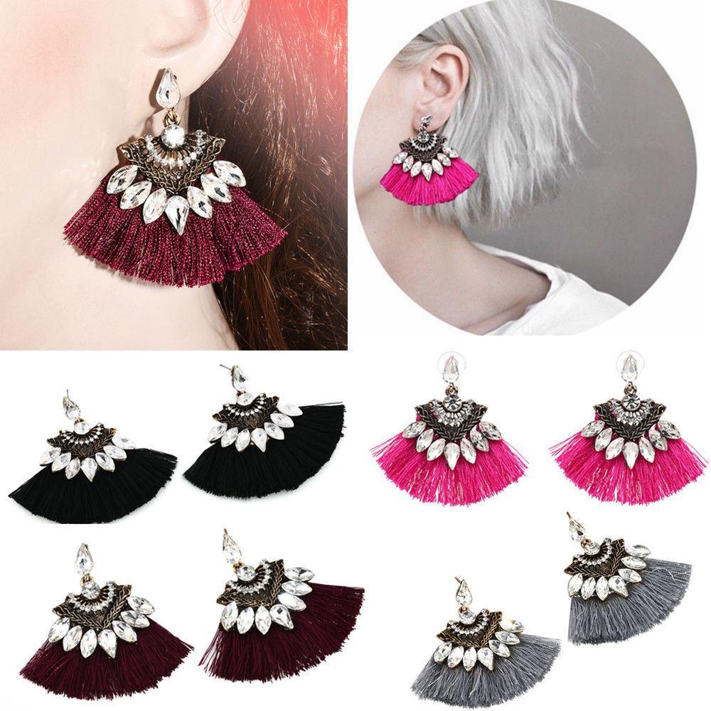 Women-Fashion-Rhinestone-Long-Tassel-Dangle-Earrings-Fringe-Drop-Jewelry-Gift-UK thumbnail 122