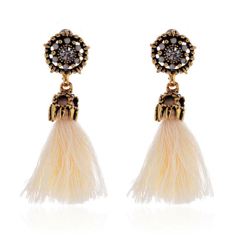 Women-Fashion-Rhinestone-Long-Tassel-Dangle-Earrings-Fringe-Drop-Gift-60-Design thumbnail 18