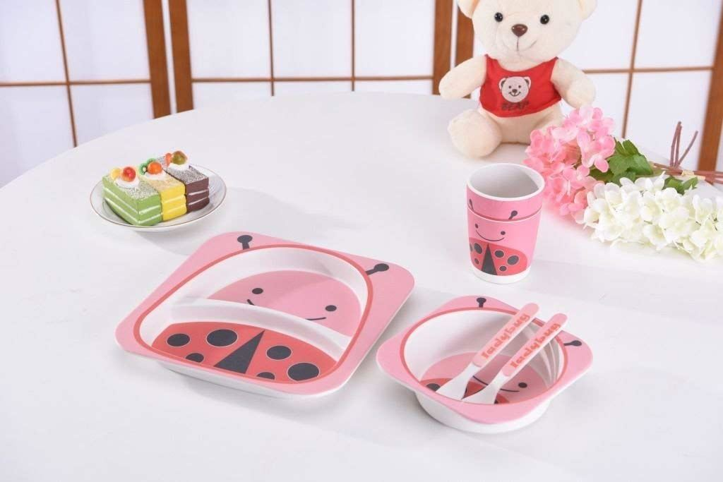 Bamboo-Kids-Meal-Set-Eco-Friendly-securite-alimentaire-alimentation-5pcs-Cuillere-Plate-Set-Toddler miniature 11