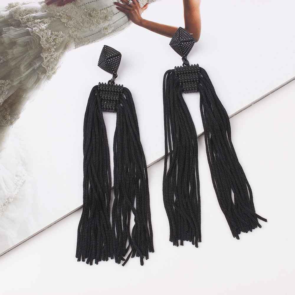Women-Fashion-Rhinestone-Long-Tassel-Dangle-Earrings-Fringe-Drop-Jewelry-Gift-UK thumbnail 196