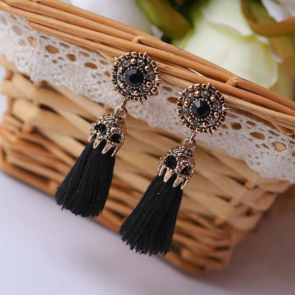 Women-Fashion-Rhinestone-Long-Tassel-Dangle-Earrings-Fringe-Drop-Jewelry-Gift-UK thumbnail 31