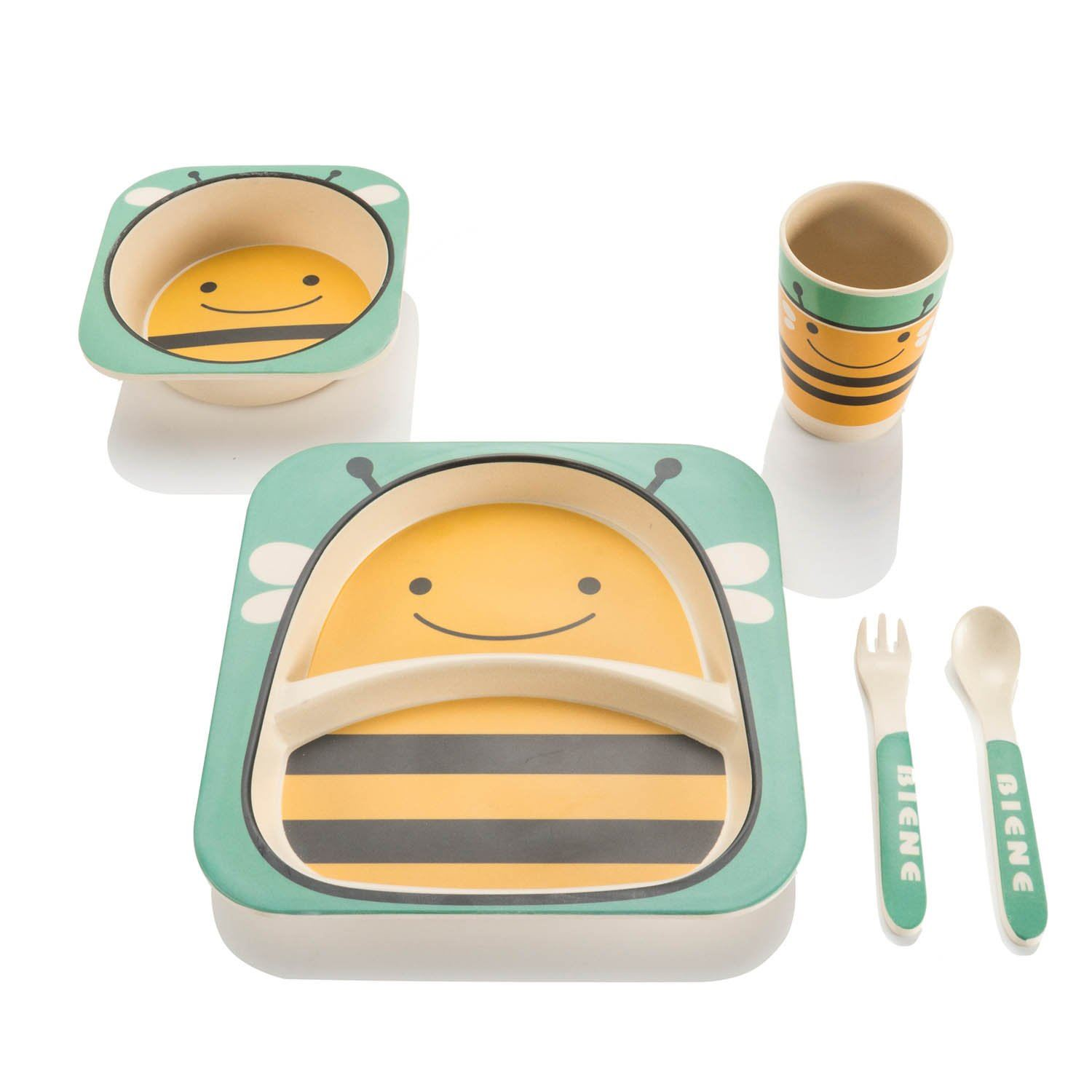 Bamboo-Kids-Meal-Set-Eco-Friendly-securite-alimentaire-alimentation-5pcs-Cuillere-Plate-Set-Toddler miniature 3