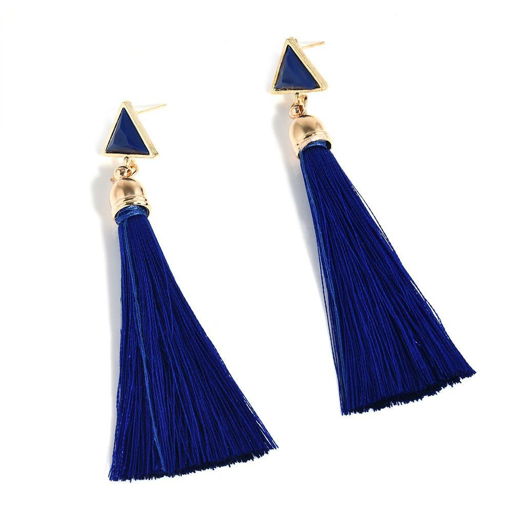 Women-Fashion-Rhinestone-Long-Tassel-Dangle-Earrings-Fringe-Drop-Gift-60-Design thumbnail 60