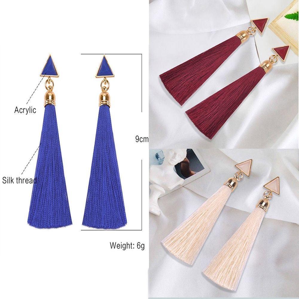 Women-Fashion-Rhinestone-Long-Tassel-Dangle-Earrings-Fringe-Drop-Jewelry-Gift-UK thumbnail 104
