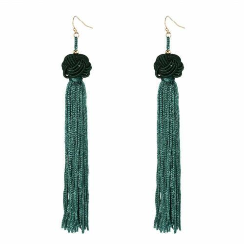 Women-Fashion-Rhinestone-Long-Tassel-Dangle-Earrings-Fringe-Drop-Gift-60-Design thumbnail 80