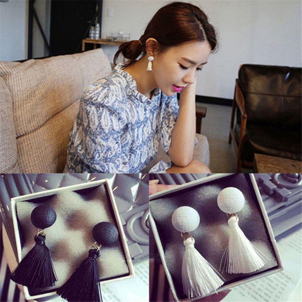 Women-Fashion-Rhinestone-Long-Tassel-Dangle-Earrings-Fringe-Drop-Jewelry-Gift-UK thumbnail 42