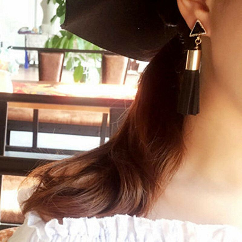 Women-Fashion-Rhinestone-Long-Tassel-Dangle-Earrings-Fringe-Drop-Gift-60-Design thumbnail 13