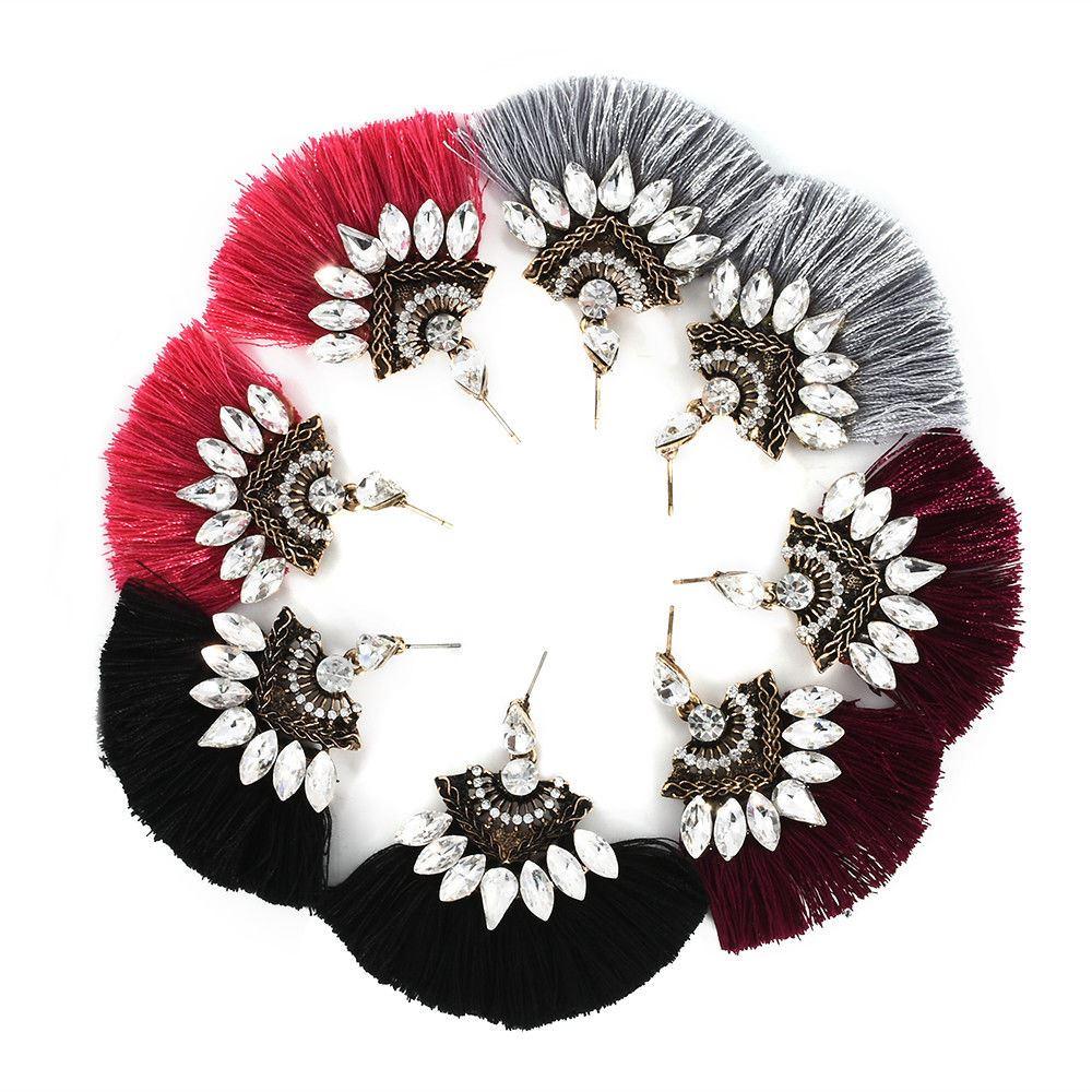 Women-Fashion-Rhinestone-Long-Tassel-Dangle-Earrings-Fringe-Drop-Jewelry-Gift-UK thumbnail 124