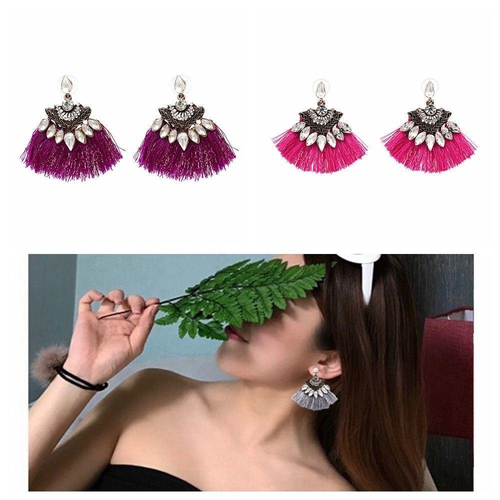 Women-Fashion-Rhinestone-Long-Tassel-Dangle-Earrings-Fringe-Drop-Jewelry-Gift-UK thumbnail 123