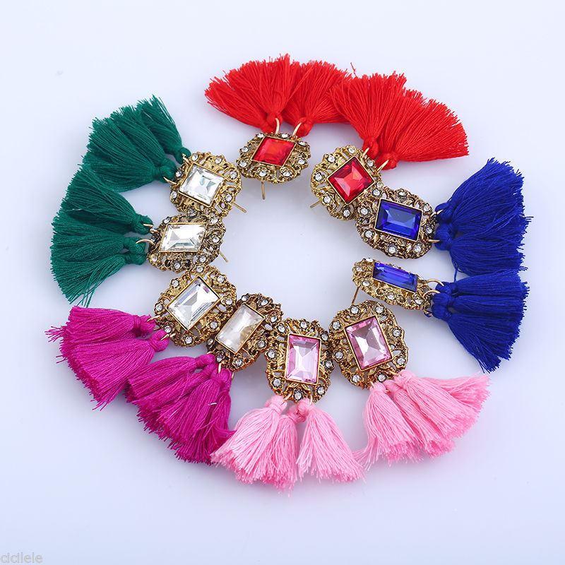 Women-Fashion-Rhinestone-Long-Tassel-Dangle-Earrings-Fringe-Drop-Jewelry-Gift-UK thumbnail 79