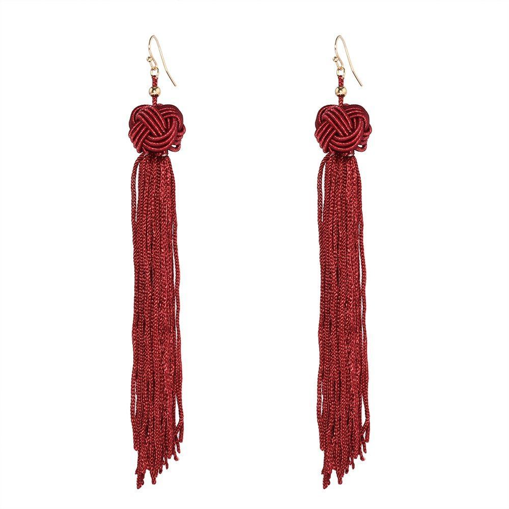 Women-Fashion-Rhinestone-Long-Tassel-Dangle-Earrings-Fringe-Drop-Gift-60-Design thumbnail 81