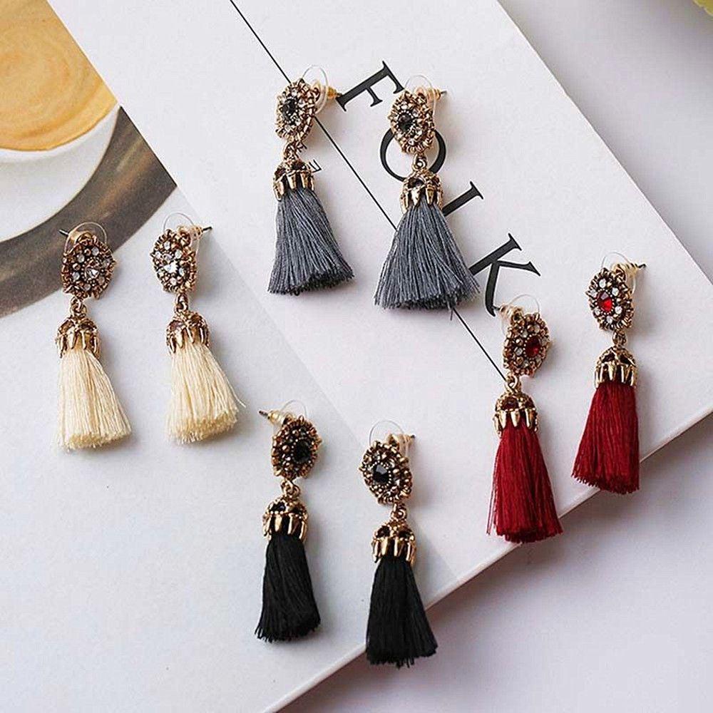 Women-Fashion-Rhinestone-Long-Tassel-Dangle-Earrings-Fringe-Drop-Jewelry-Gift-UK thumbnail 29