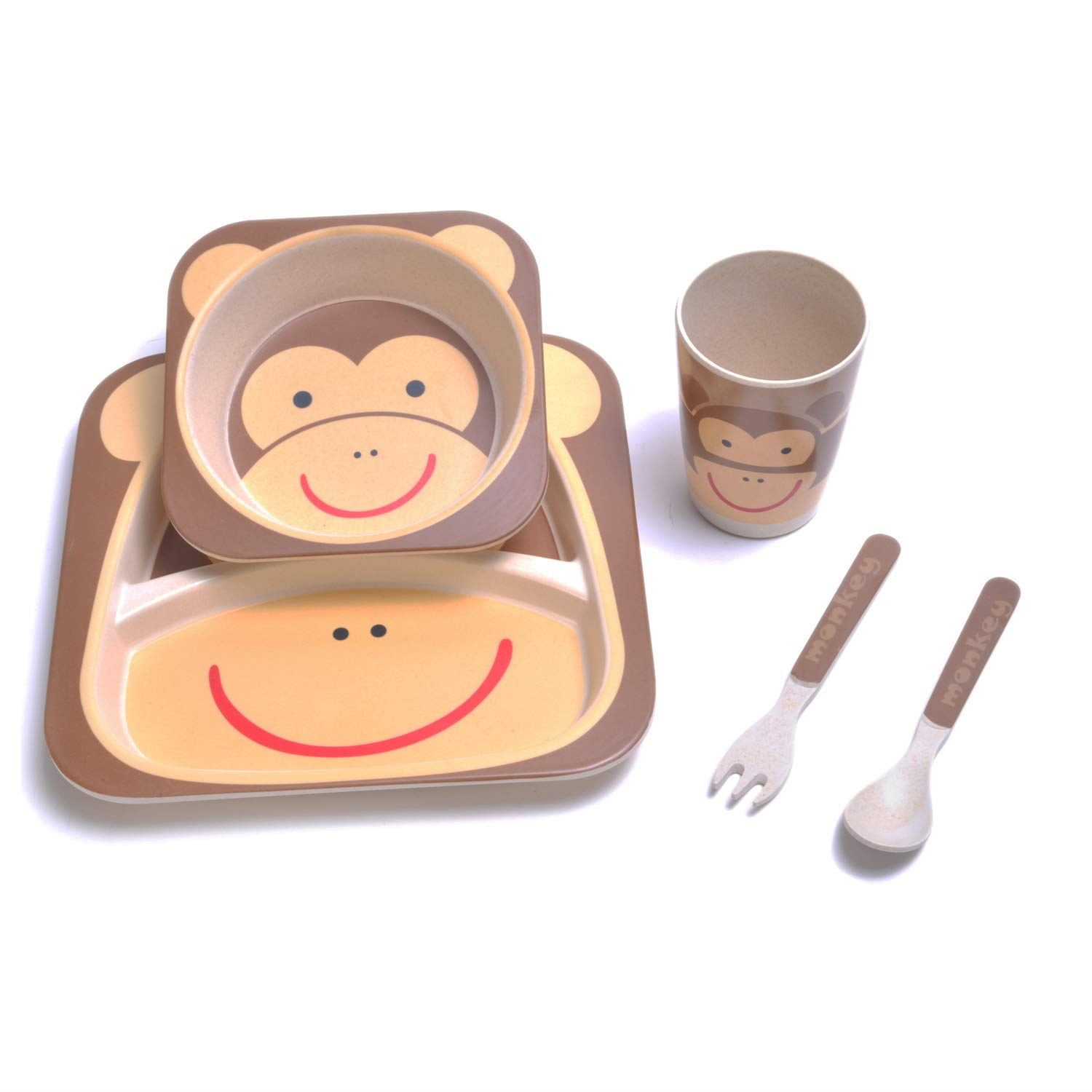 Bamboo-Kids-Meal-Set-Eco-Friendly-securite-alimentaire-alimentation-5pcs-Cuillere-Plate-Set-Toddler miniature 14