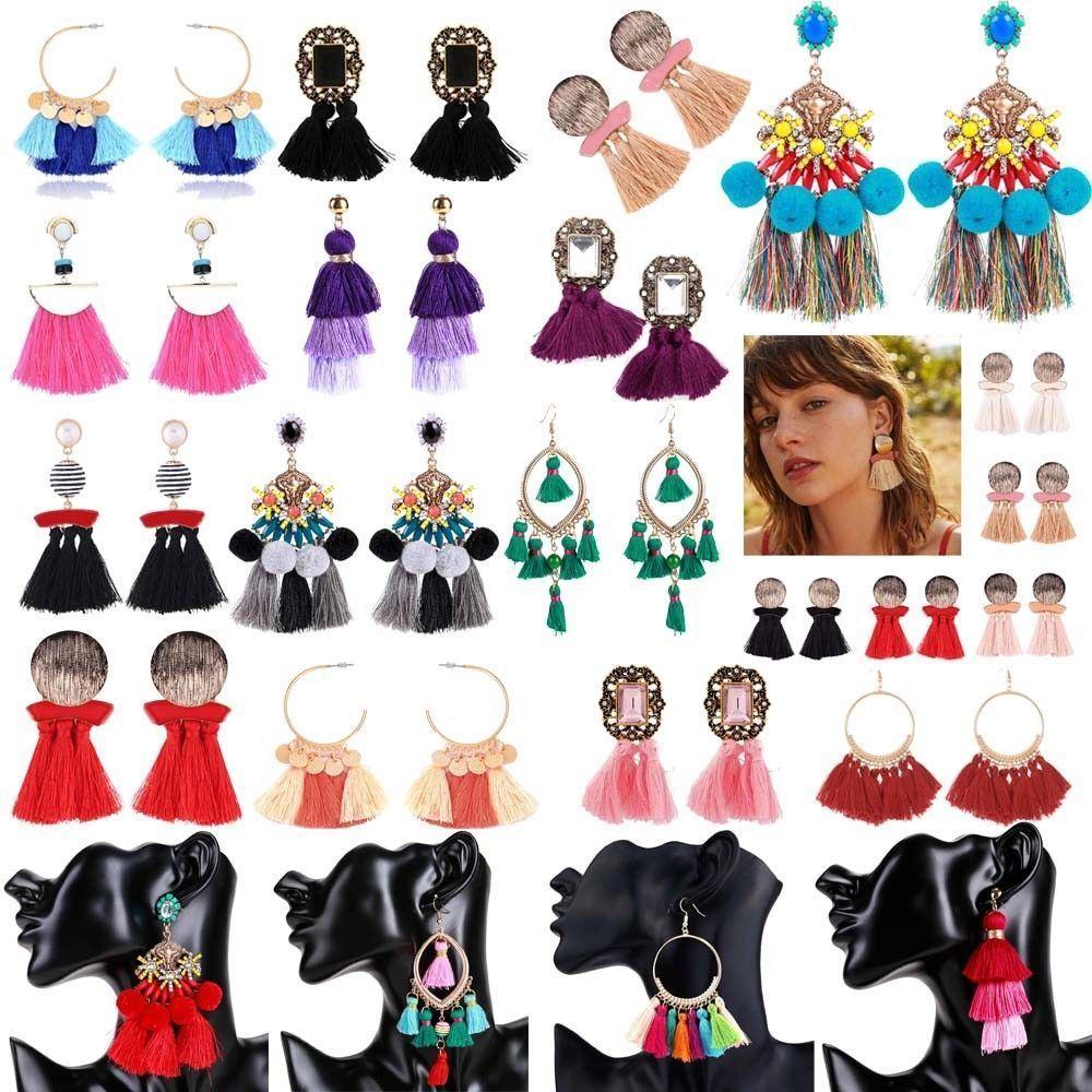 Women-Fashion-Rhinestone-Long-Tassel-Dangle-Earrings-Fringe-Drop-Jewelry-Gift-UK thumbnail 70