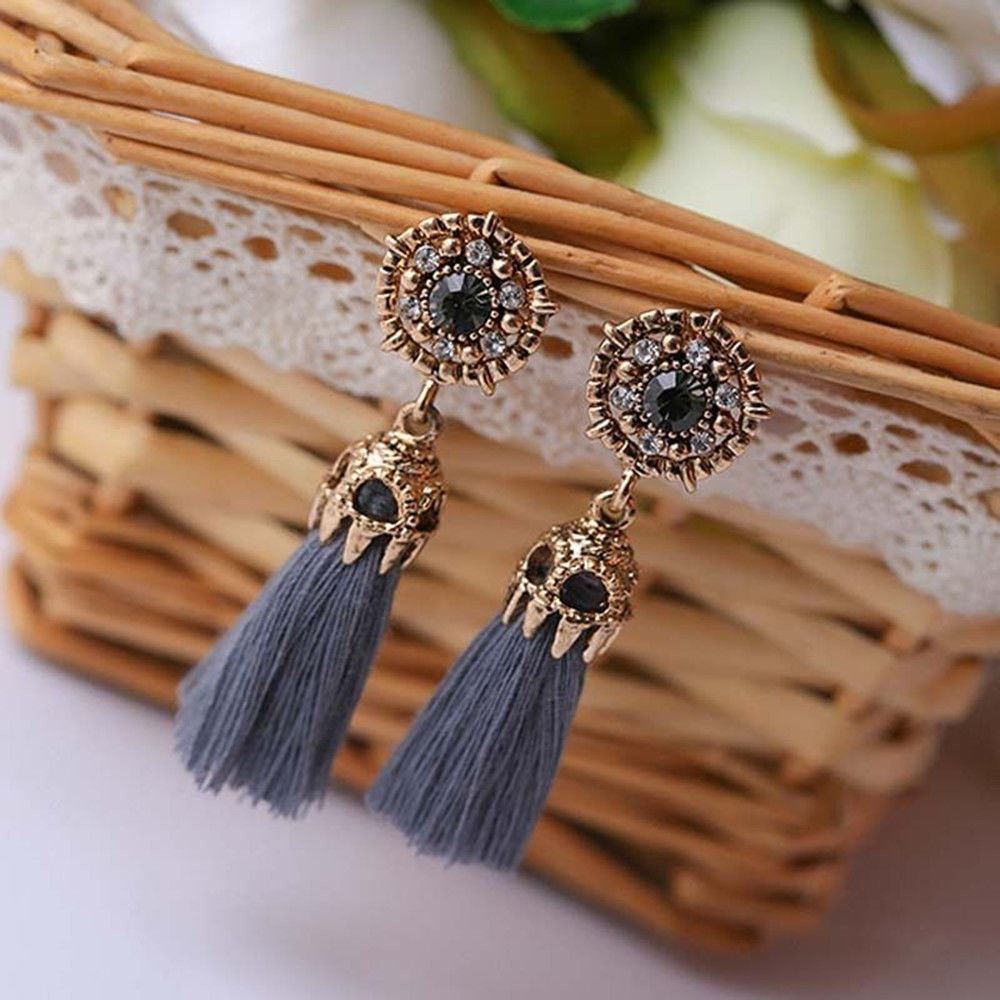 Women-Fashion-Rhinestone-Long-Tassel-Dangle-Earrings-Fringe-Drop-Jewelry-Gift-UK thumbnail 32