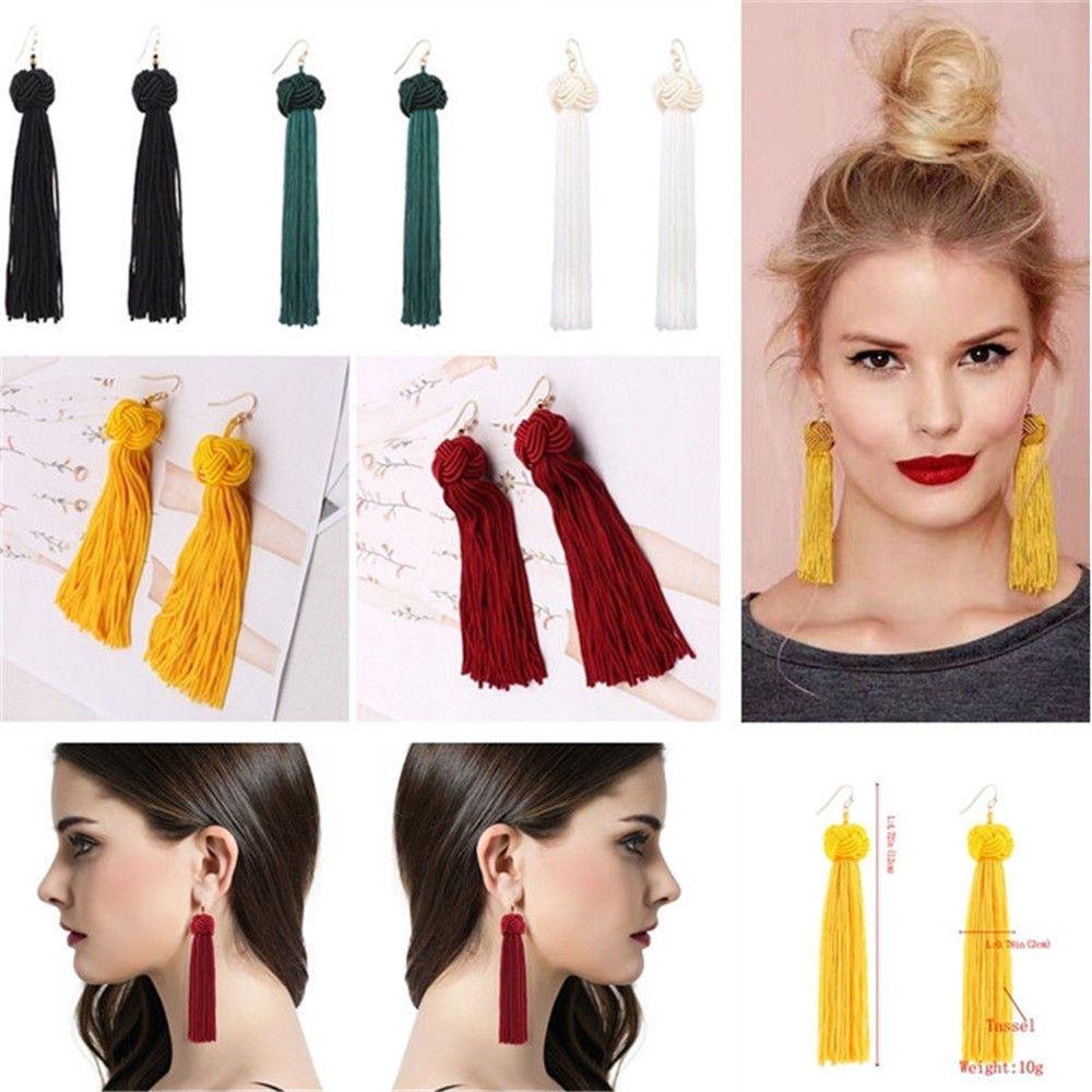 Women-Fashion-Rhinestone-Long-Tassel-Dangle-Earrings-Fringe-Drop-Jewelry-Gift-UK thumbnail 146