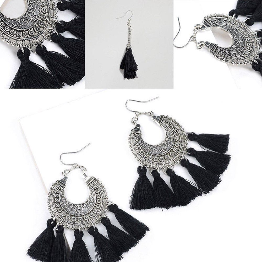 Women-Fashion-Rhinestone-Long-Tassel-Dangle-Earrings-Fringe-Drop-Jewelry-Gift-UK thumbnail 63