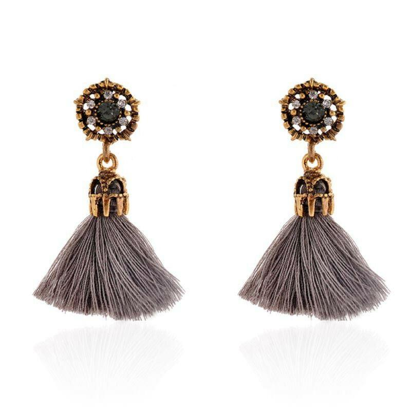 Women-Fashion-Rhinestone-Long-Tassel-Dangle-Earrings-Fringe-Drop-Gift-60-Design thumbnail 20