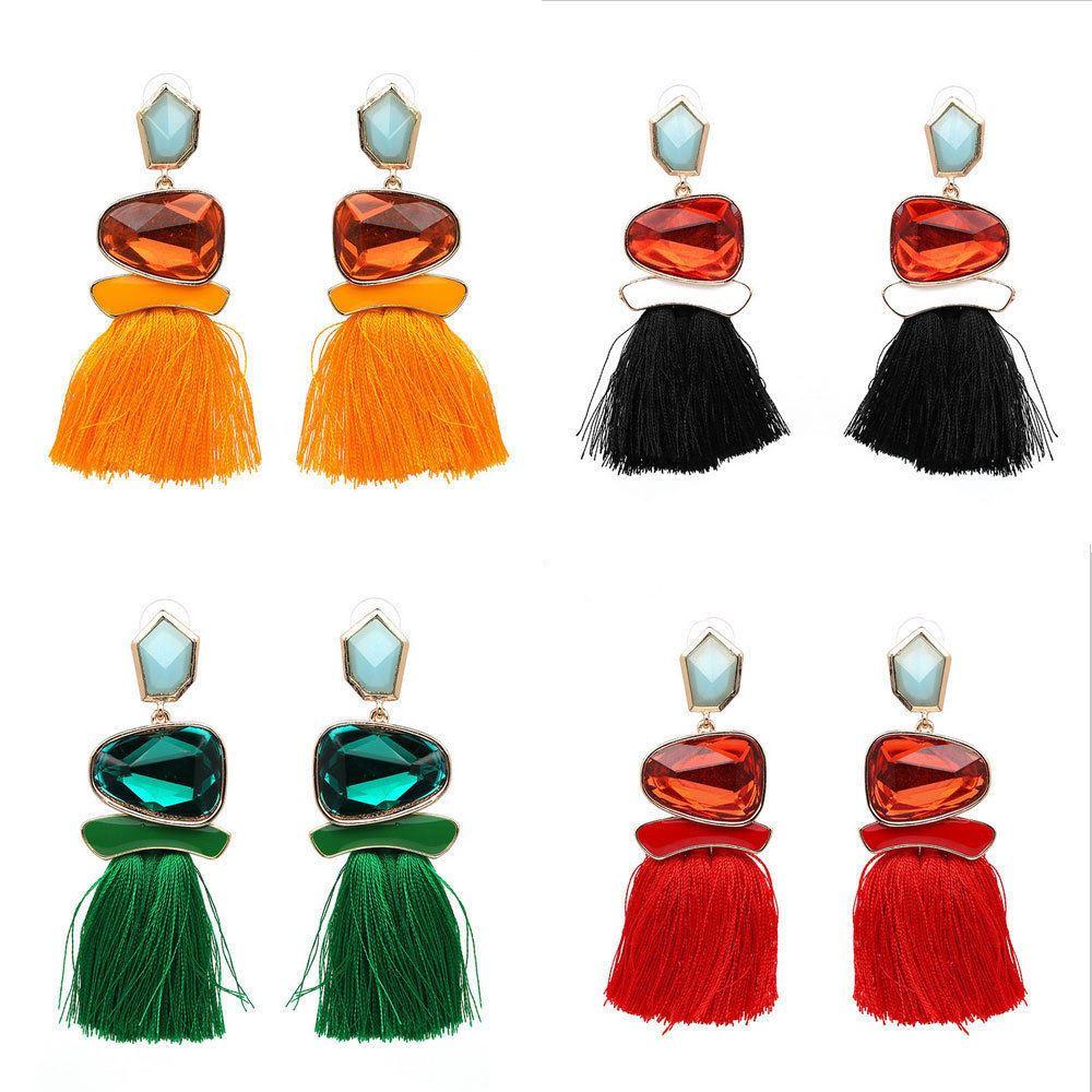 Women-Fashion-Rhinestone-Long-Tassel-Dangle-Earrings-Fringe-Drop-Jewelry-Gift-UK thumbnail 161