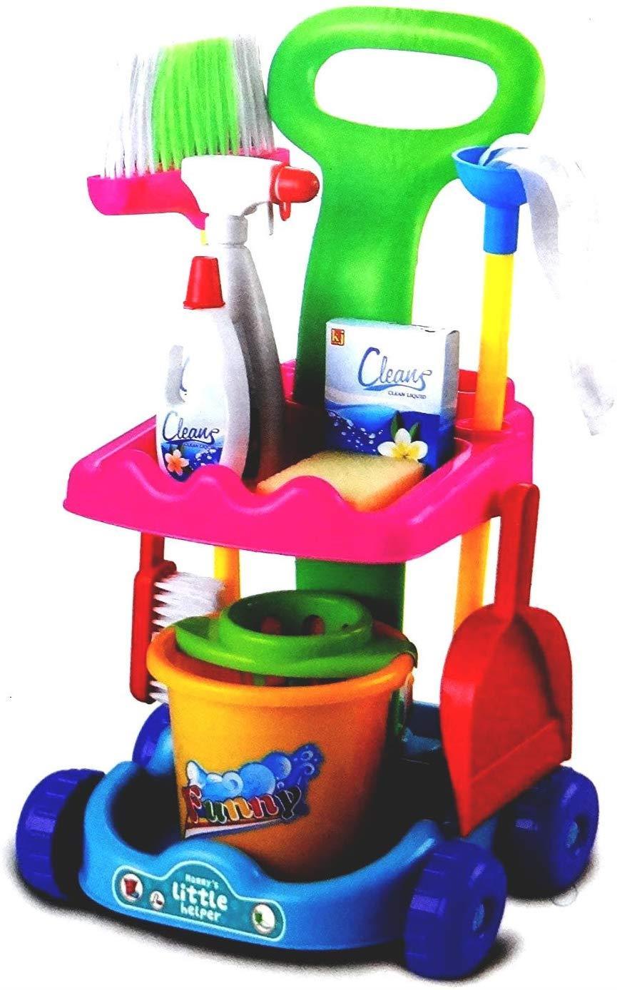 Kids Children Little Helper Complete Cleaning Trolley Set