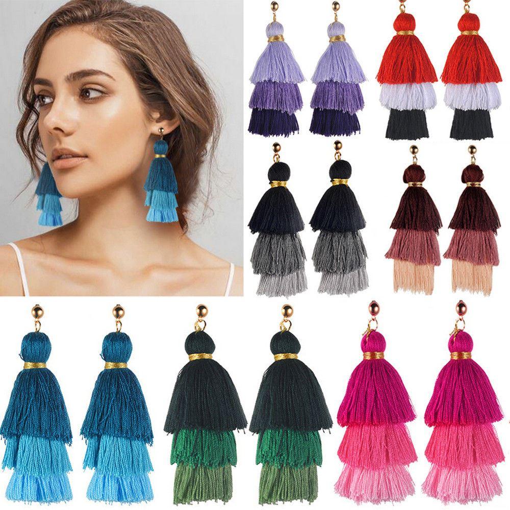 Women-Fashion-Rhinestone-Long-Tassel-Dangle-Earrings-Fringe-Drop-Jewelry-Gift-UK thumbnail 111