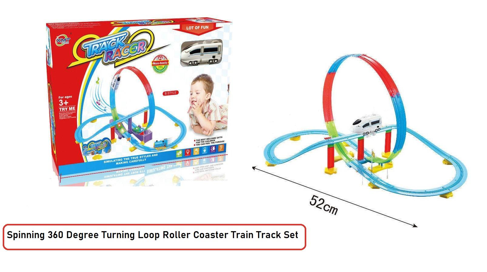 Kids Train Track Set 360 Degree Colorful Roller Coaster Toy With Accessories