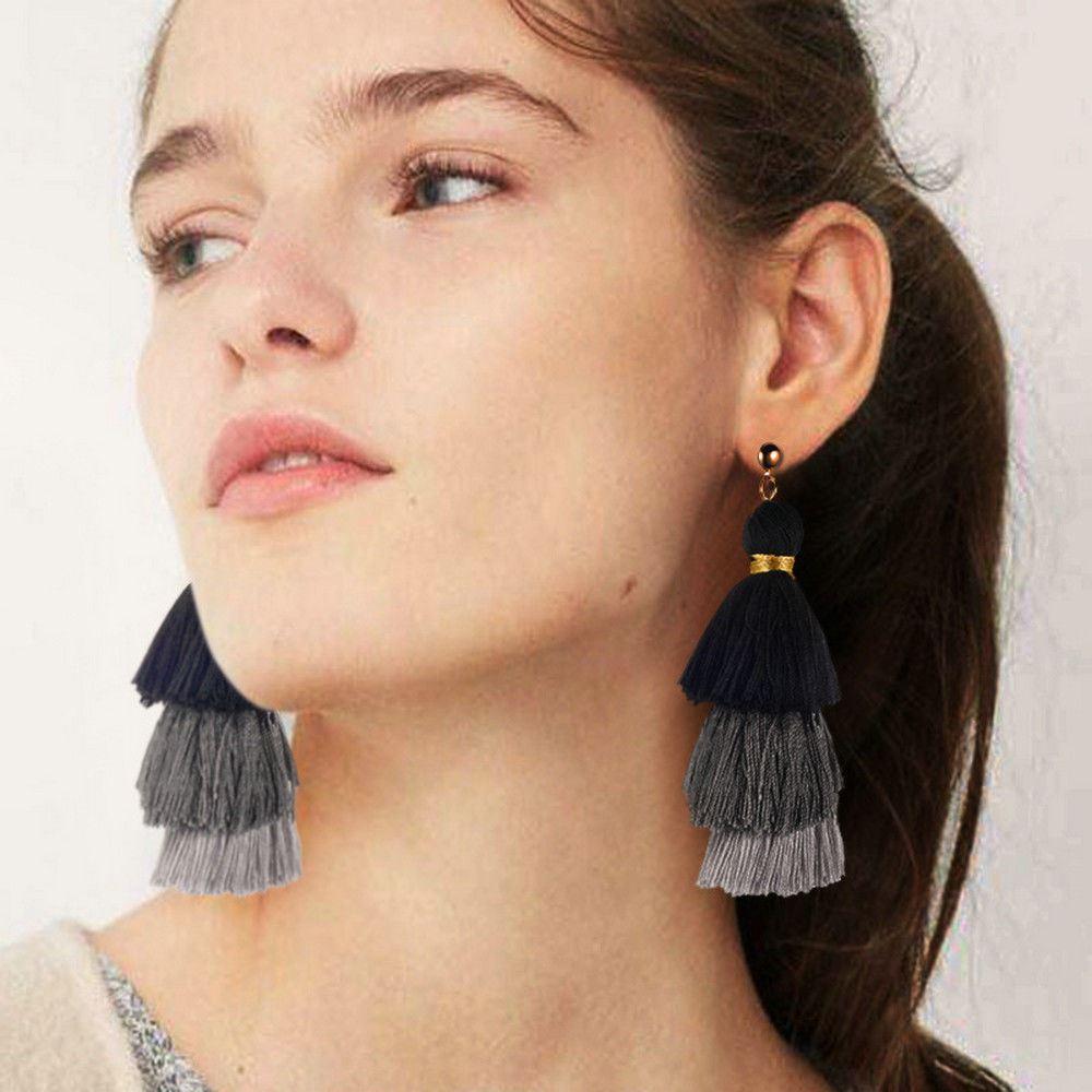 Women-Fashion-Rhinestone-Long-Tassel-Dangle-Earrings-Fringe-Drop-Jewelry-Gift-UK thumbnail 114