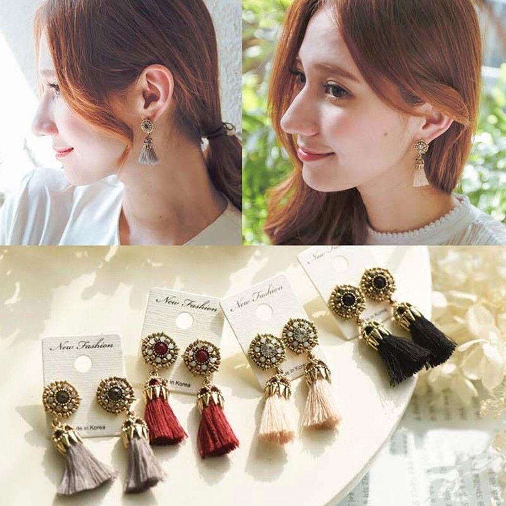 Women-Fashion-Rhinestone-Long-Tassel-Dangle-Earrings-Fringe-Drop-Jewelry-Gift-UK thumbnail 28
