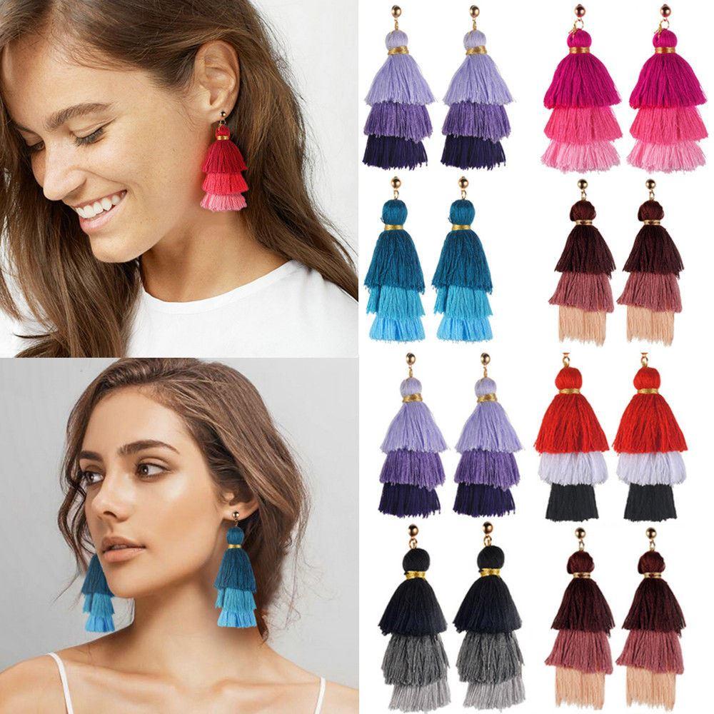 Women-Fashion-Rhinestone-Long-Tassel-Dangle-Earrings-Fringe-Drop-Jewelry-Gift-UK thumbnail 112