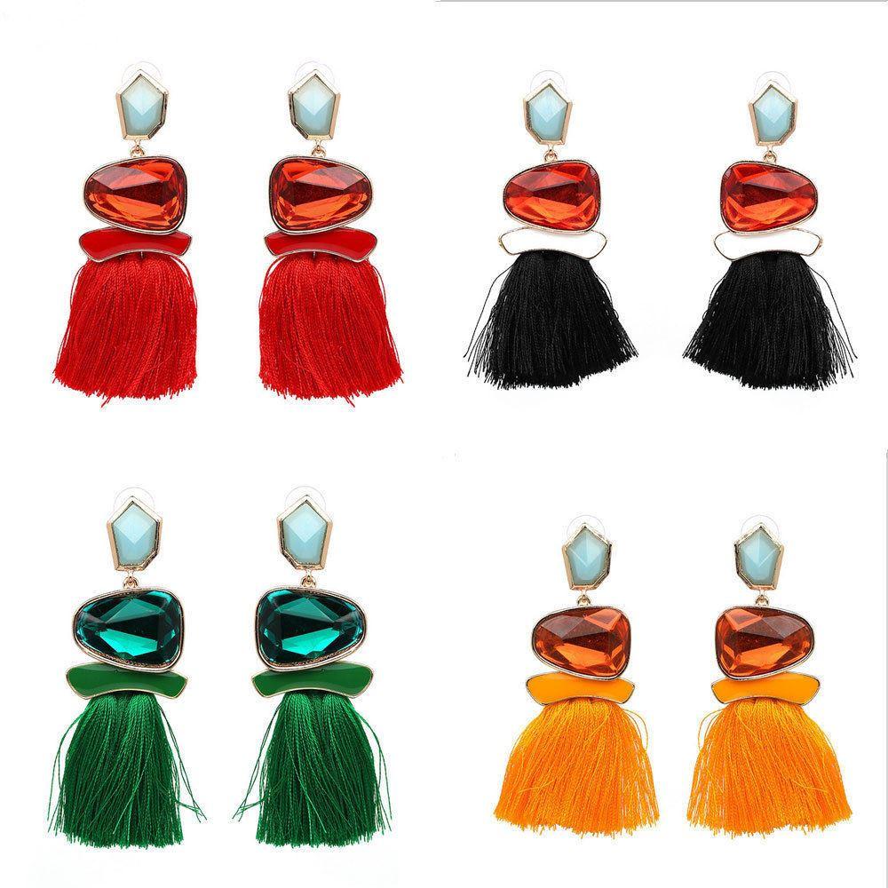 Women-Fashion-Rhinestone-Long-Tassel-Dangle-Earrings-Fringe-Drop-Jewelry-Gift-UK thumbnail 159