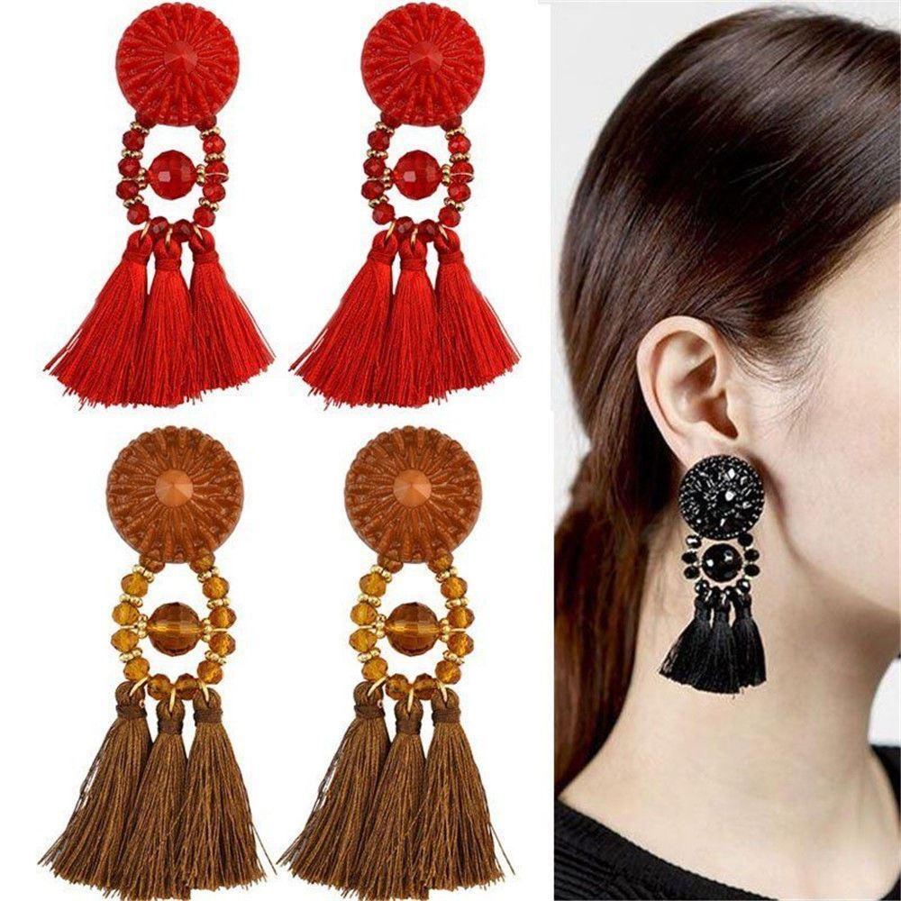 Women-Fashion-Rhinestone-Long-Tassel-Dangle-Earrings-Fringe-Drop-Jewelry-Gift-UK thumbnail 86