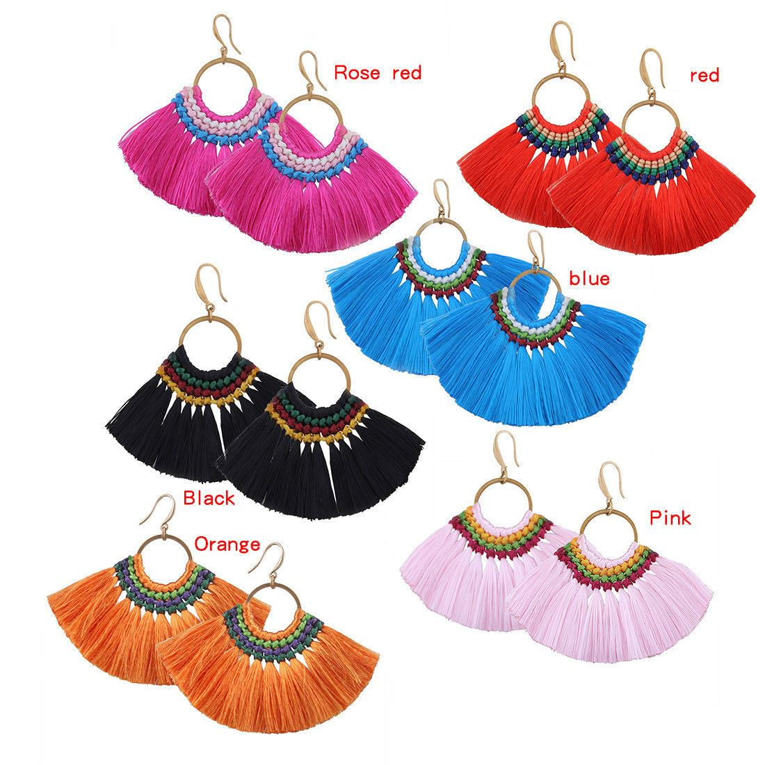 Women-Fashion-Rhinestone-Long-Tassel-Dangle-Earrings-Fringe-Drop-Jewelry-Gift-UK thumbnail 93