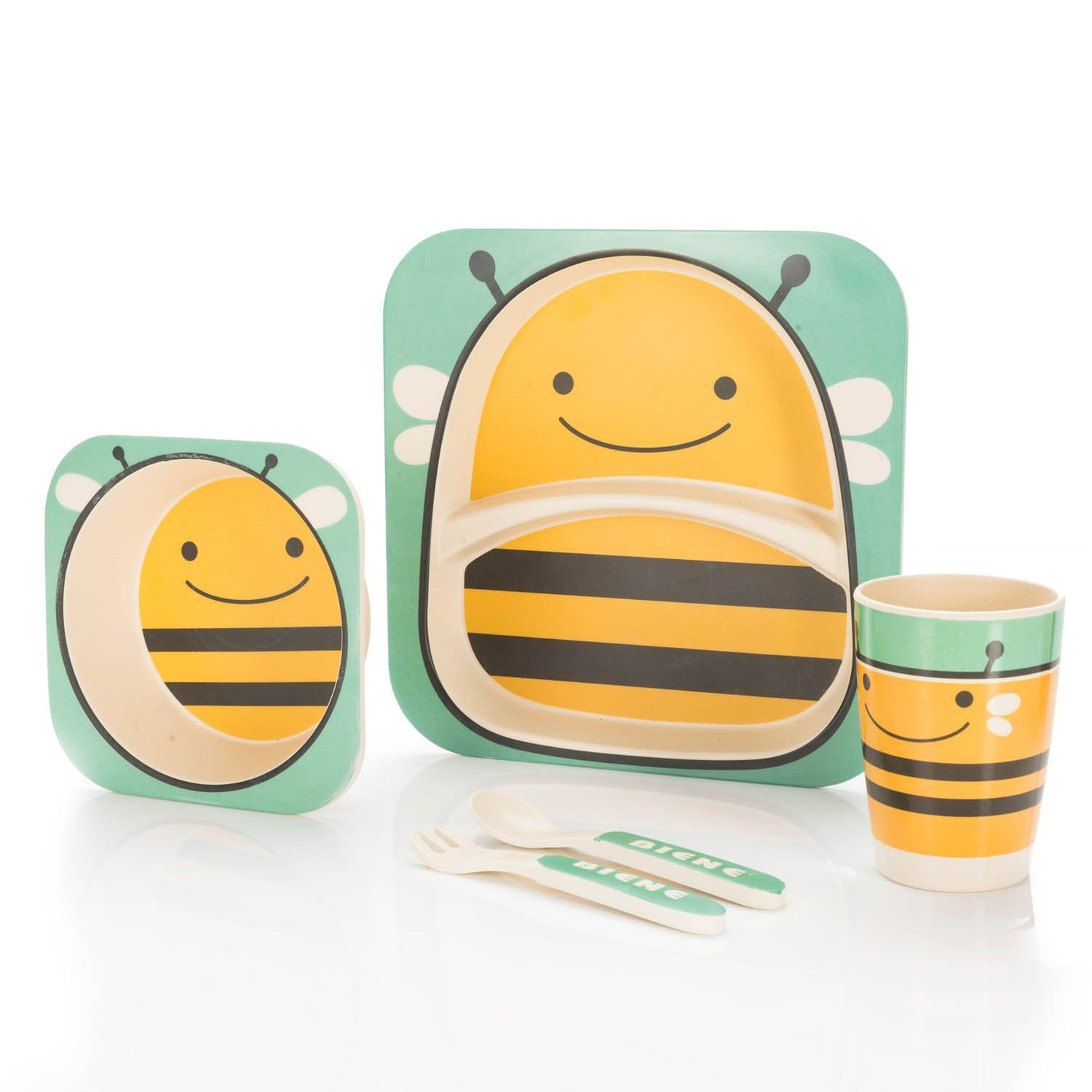 Bamboo-Kids-Meal-Set-Eco-Friendly-securite-alimentaire-alimentation-5pcs-Cuillere-Plate-Set-Toddler miniature 6