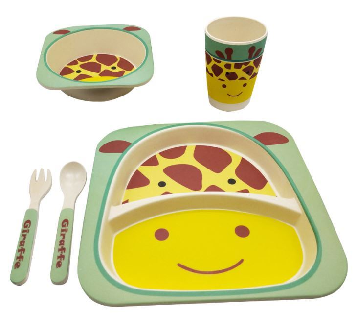 Bamboo-Kids-Meal-Set-Eco-Friendly-securite-alimentaire-alimentation-5pcs-Cuillere-Plate-Set-Toddler miniature 8