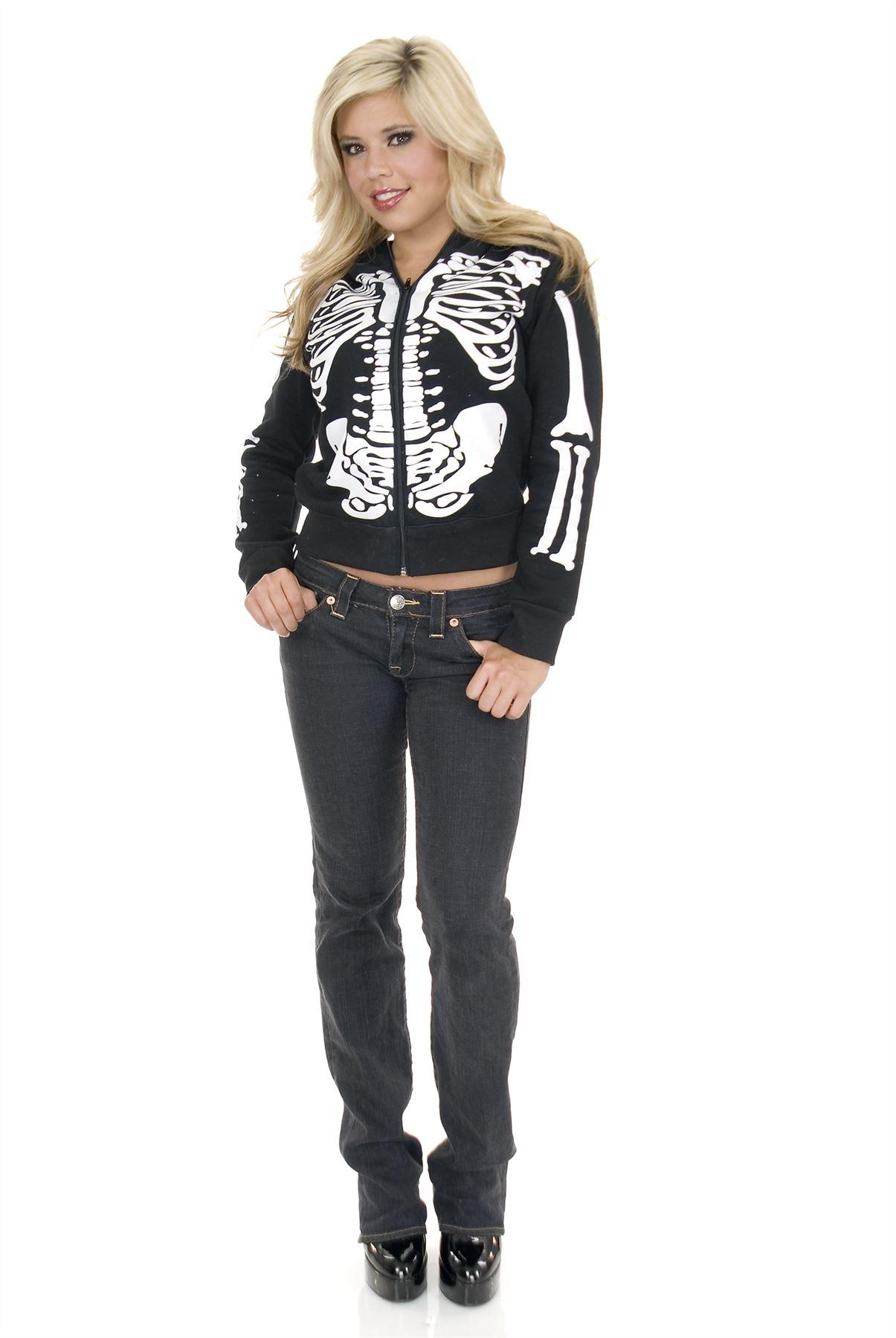 skeleton hoodie jacket womens goth sweatshirt top teen
